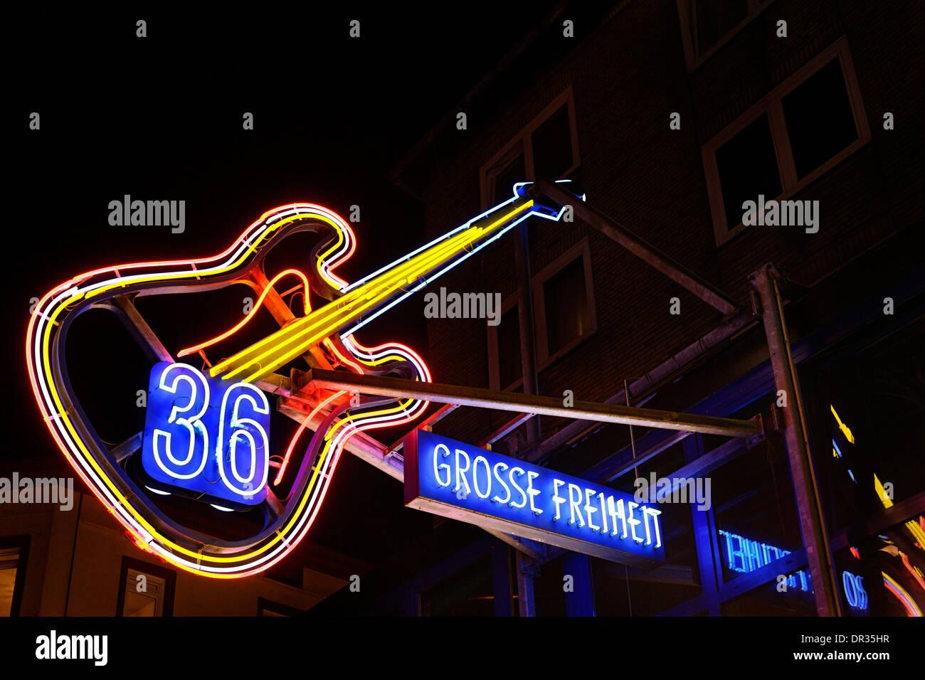 Grosse Freiheit 36, legendary neighborhood club, neon sign, St. Pauli, Reeperbahn, Hamburg, Germany, Europe - Stock Image