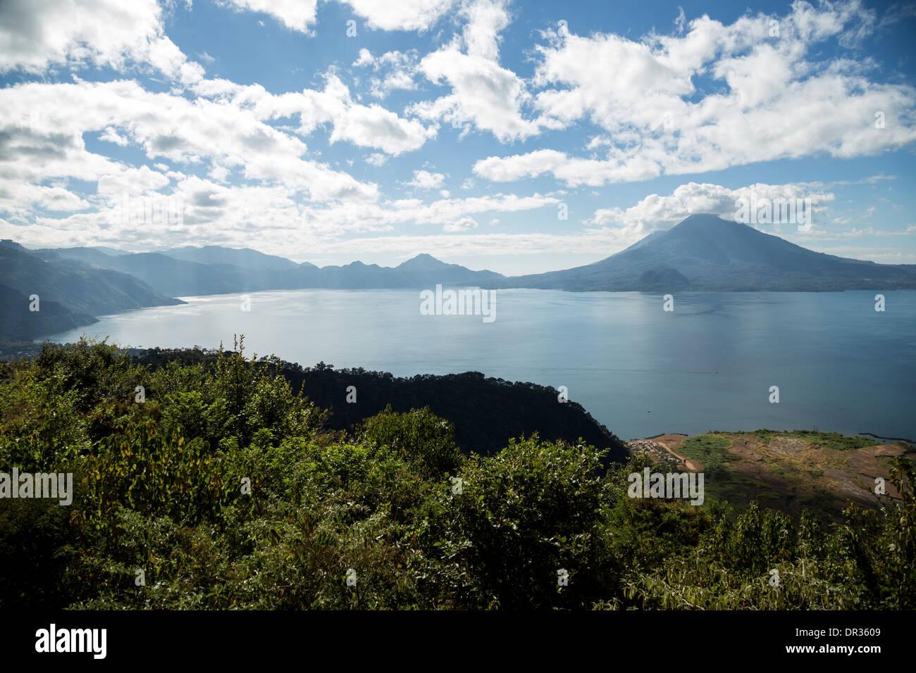 View of the lake Atitlan and volcano in Panajachel, Guatemala - Stock Image