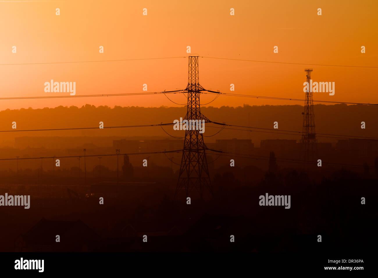 Sunrise, Powerlines, Morning, East London - Stock Image