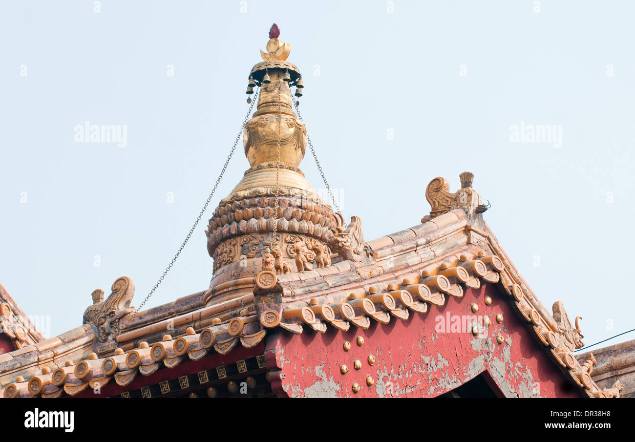 roof details in yonghe temple also known as yonghe lamasery or