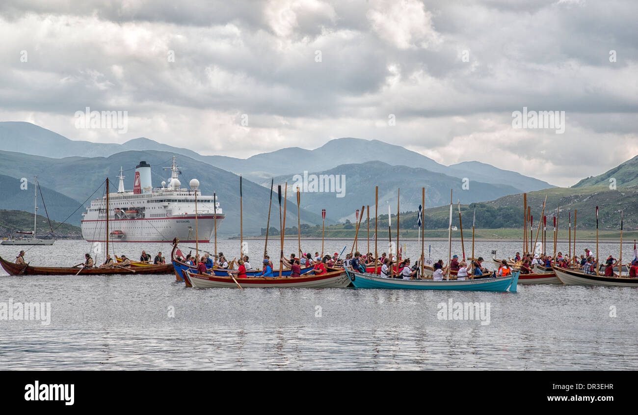 The Gathering of The Skiff World Championships, on Lochbroom, at Ullapool 2013 - Stock Image