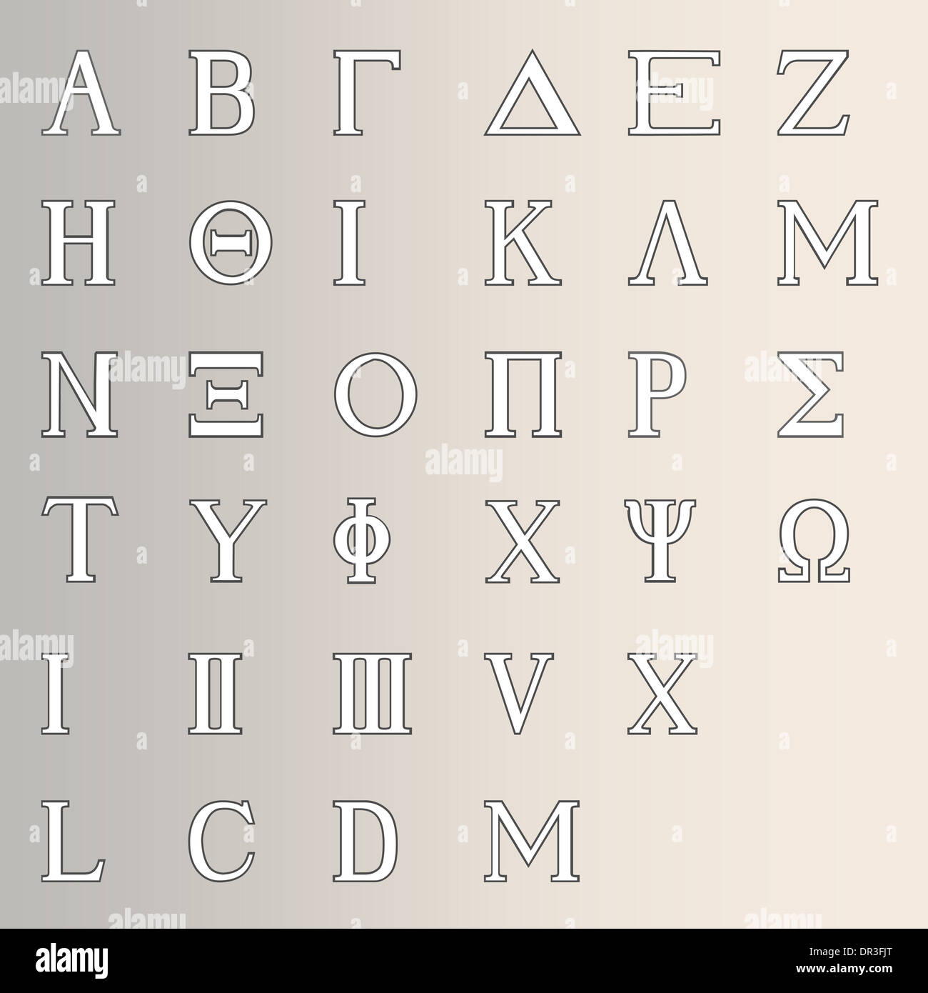 The letters of the Greek alphabet with numbers - Stock Image