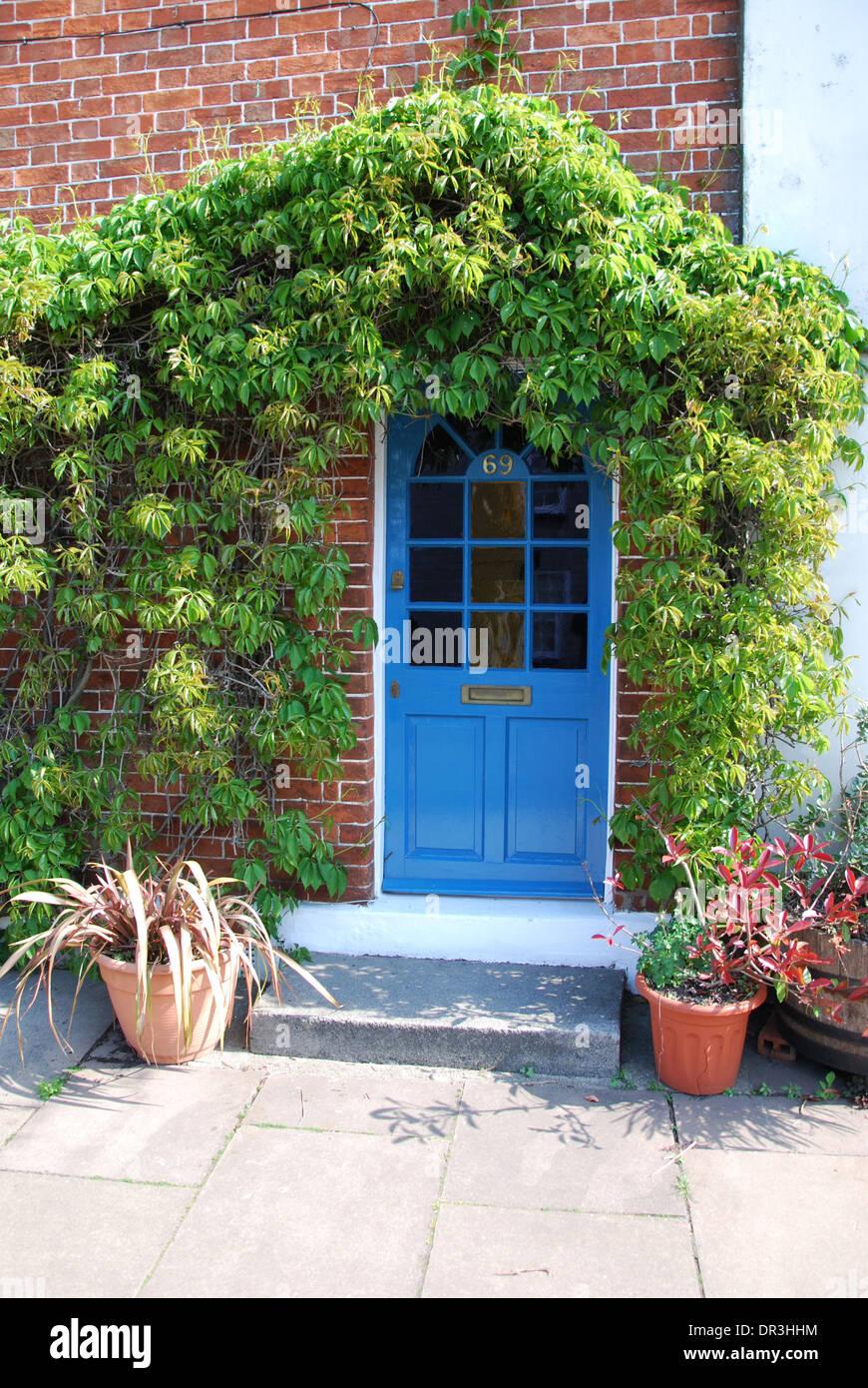 front door of terraced house Glastonbury UK Stock Photo