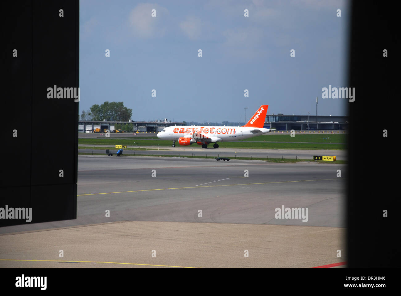 EasyJet Airbus taking off from Schiphol Airport Amsterdam Netherlands - Stock Image