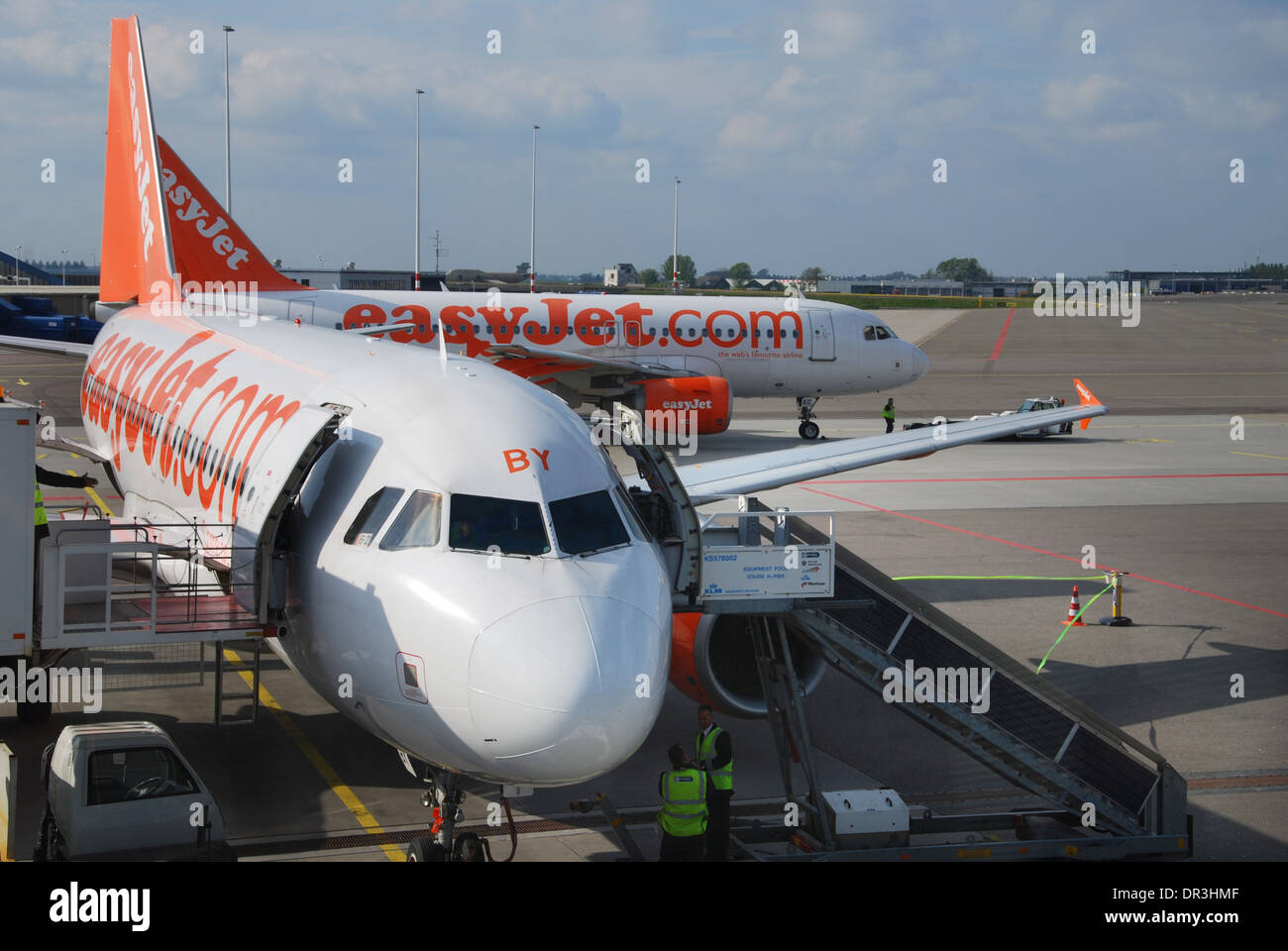 EasyJet Airbus planes at Schiphol Airport Amsterdam Netherlands - Stock Image