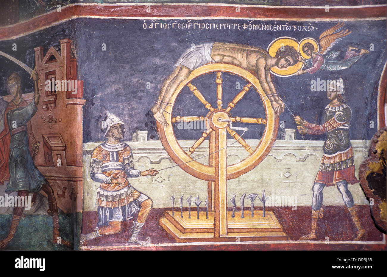 Torture or Punishment of Christian Martyr by Roman Soldiers Fresco Narthex of Dionysiou Monastery Mount Athos Greece - Stock Image