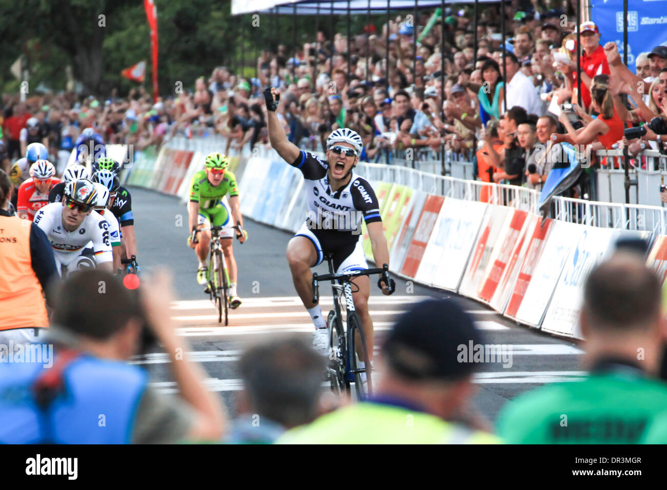 Adelaide, Australia. 19th Jan 2014. Marcel KITTEL of the GIANT SHIMANO Team wins the 'People's Choice Classic', as a prelude to the 2014 Santos Tour Down Under in Adelaide Australia. Credit:  Boris Karpinski/Alamy Live News - Stock Image