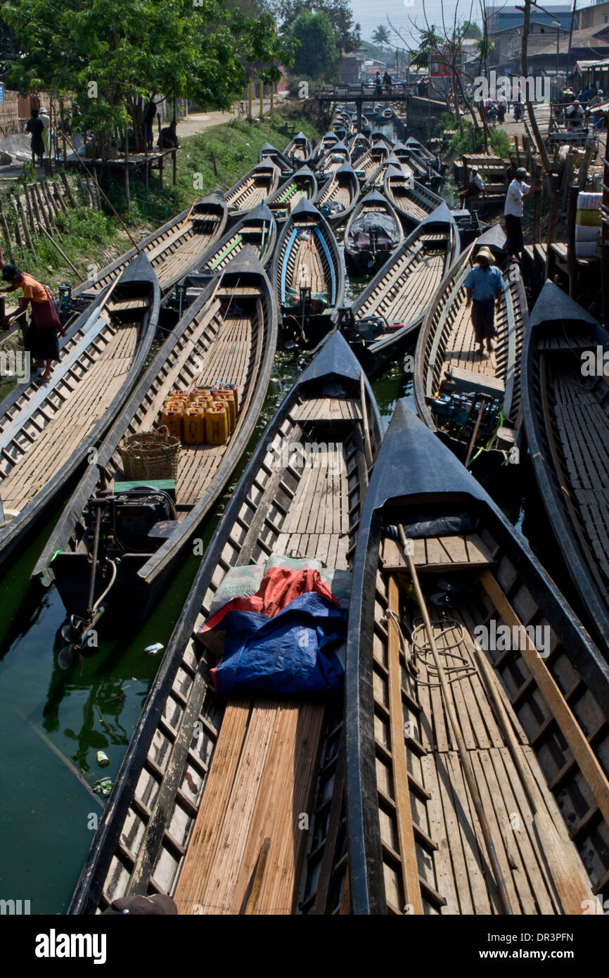Boats anchored on canal, Myanmar - Stock Image