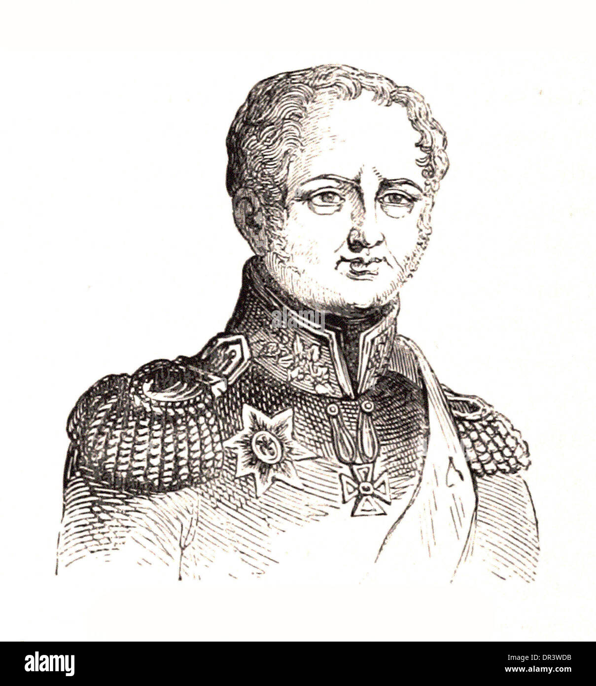 Portrait of Emperor Alexander I (The First) of Russia - Britsh engraving - Stock Image