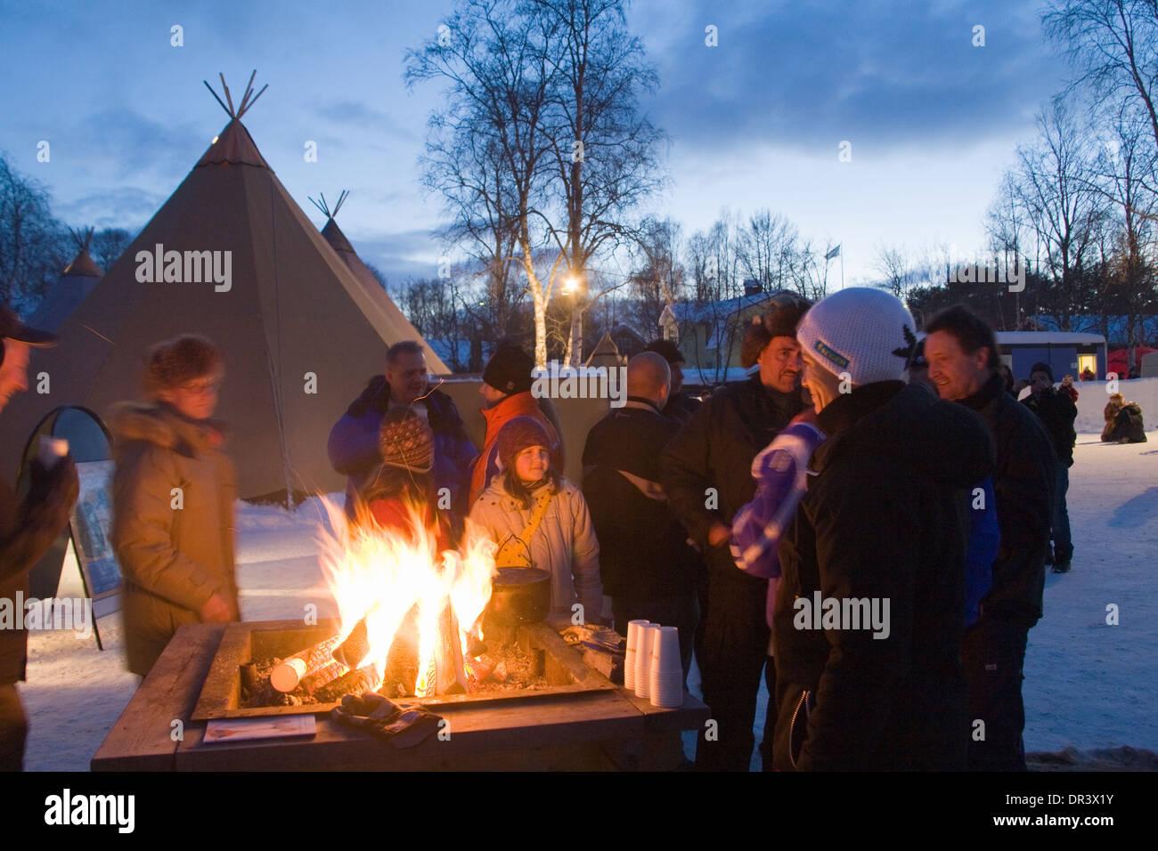 Cot-tent Jokkmokk fair Laponia Sweden Winter - Stock Image