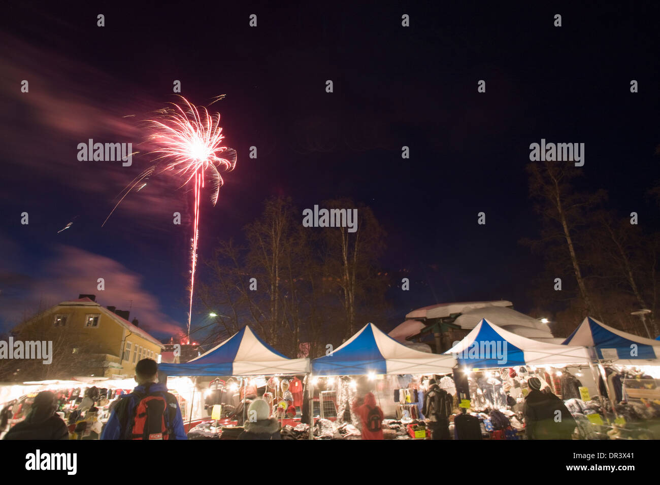 Market street Jokkmokk fair Laponia Sweden Winter - Stock Image