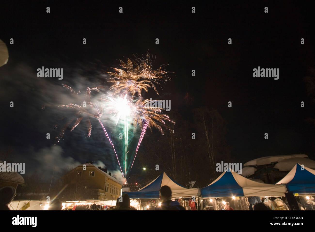 Fireworks Market street Jokkmokk fair Laponia Sweden Winter - Stock Image