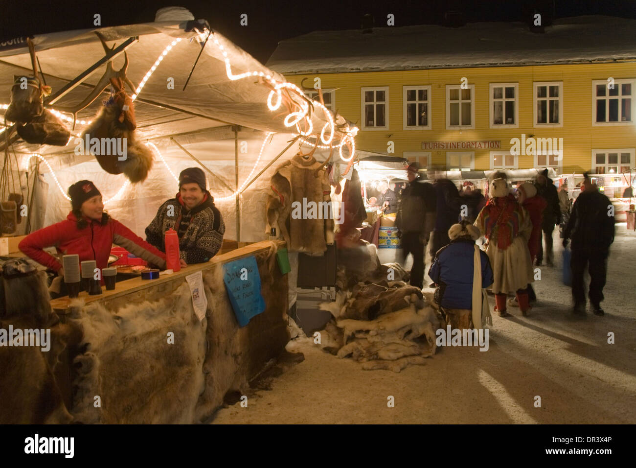 Selling Reindeer skin Jokkmokk fair Laponia Sweden Winter - Stock Image