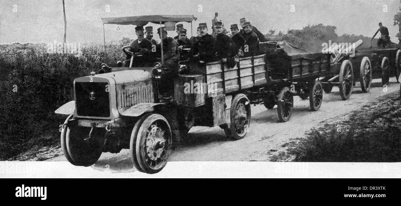 Motor trucks proved invaluable in WW I in drawing  siege guns and supplies more rapidly than  possible with horses. - Stock Image