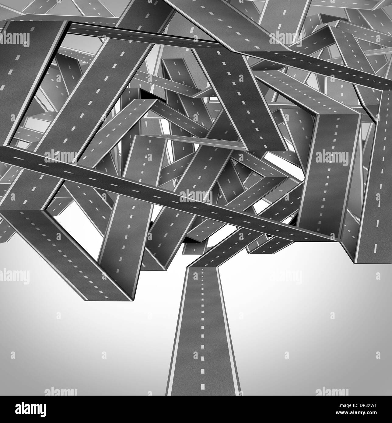 Business quagmire and entanglement concept with a group of three dimensional roads or highways tangled in a confused traffic crossroads jam as a metaphor for strategic difficulty. - Stock Image