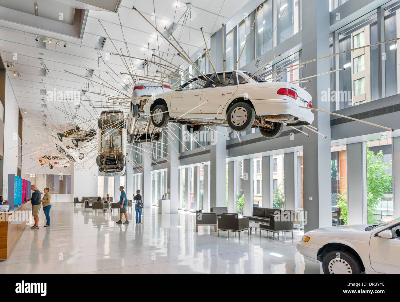 Inopportune: Stage One  installation by Cai Guo-Qiang in the entrance hall to Seattle Art Museum, Seattle, Washington, - Stock Image