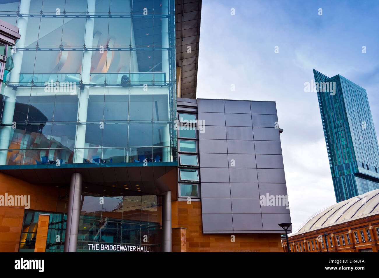 Cityscape at the Manchester city centre with the Bridgewater Hall, Beetham Tower and Gmex. - Stock Image