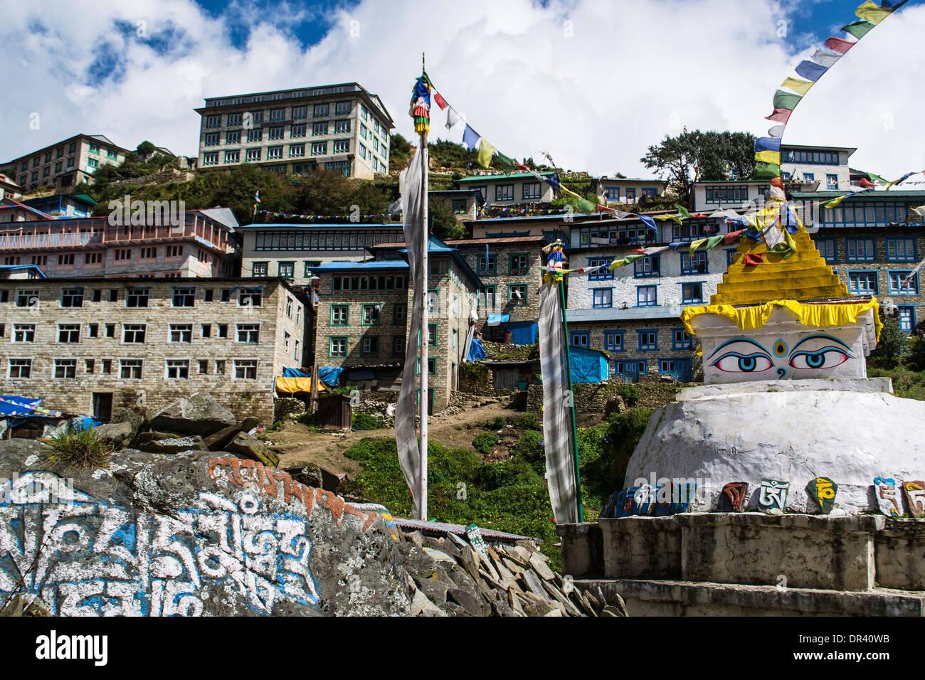 Village in Himalayas - Stock Image