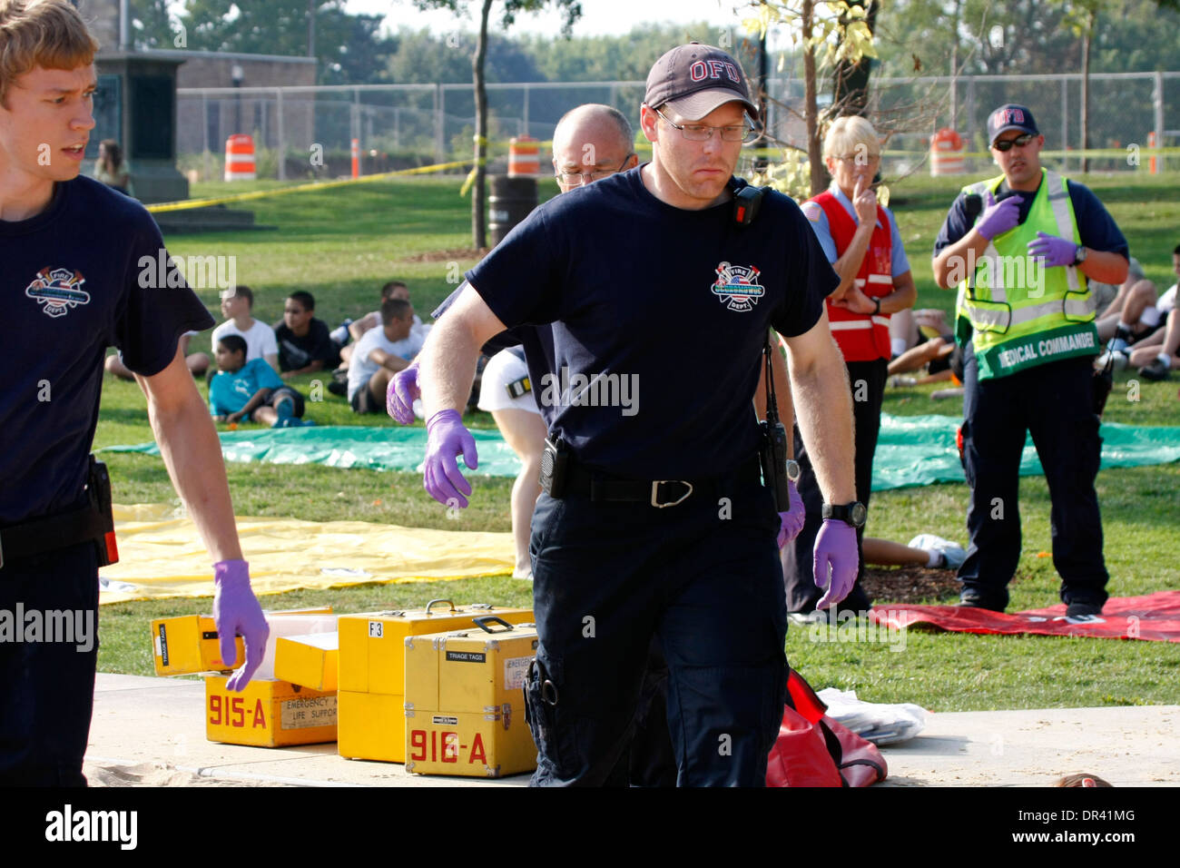 EMTs at a scene of a mass casualty incident - Stock Image