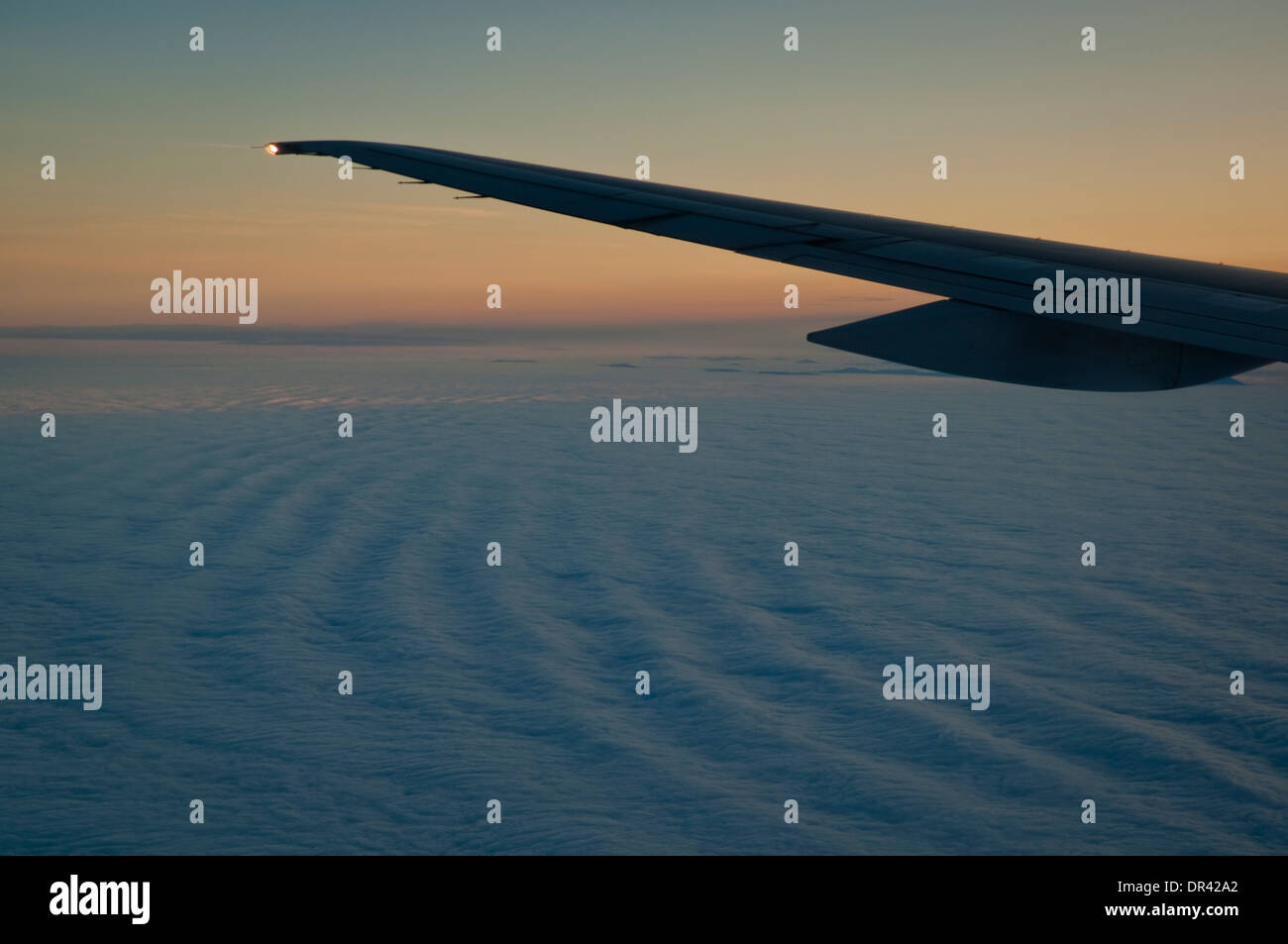 Low level stratus clouds at sunrise over the Pacific Ocean Stock Photo