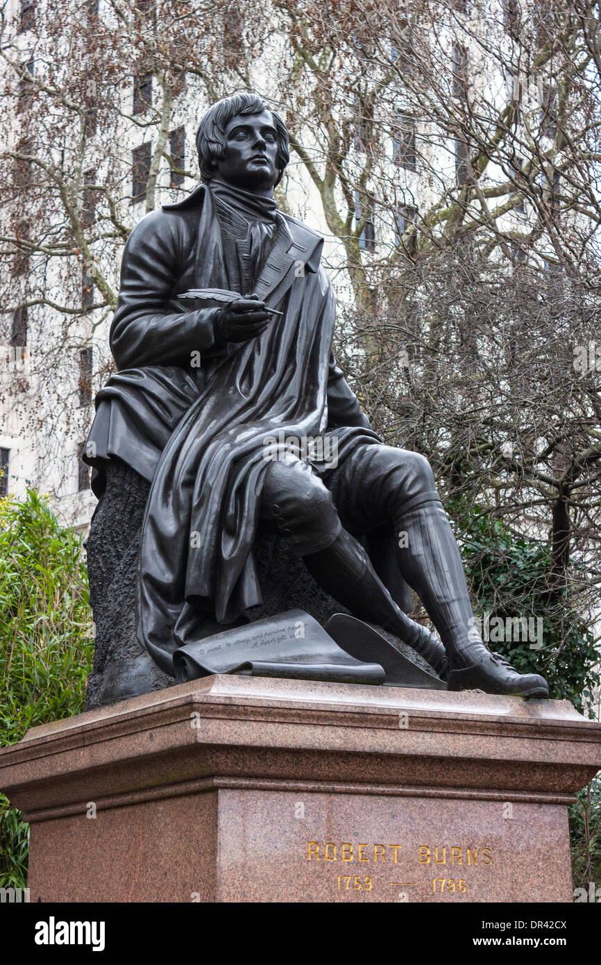 Statue of Robert Burns, Scottish poet - Stock Image
