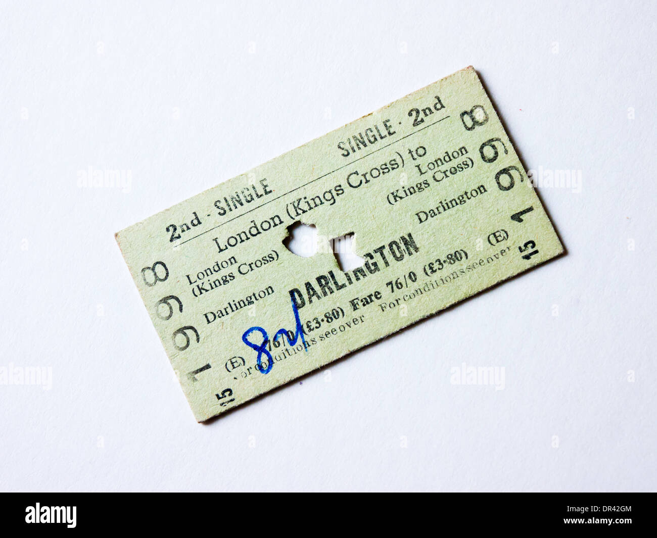 A second class Rail ticket between London and Darlington from the early 1970's priced in old and the new (Decimal) currency. - Stock Image