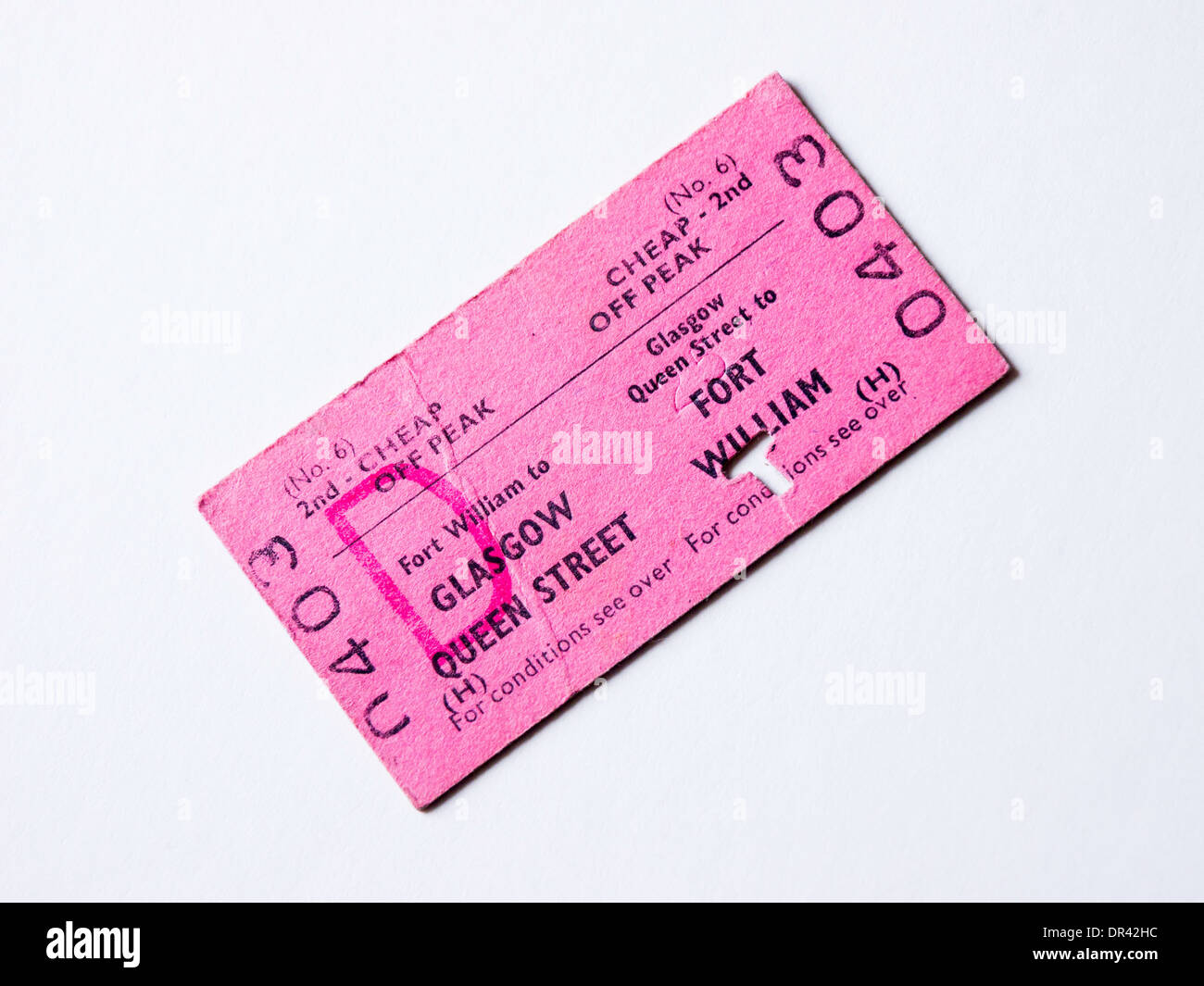 A used second class cheap off-peak return Rail ticket between Glasgow Queen Street and Fort William from the early 1970's - Stock Image