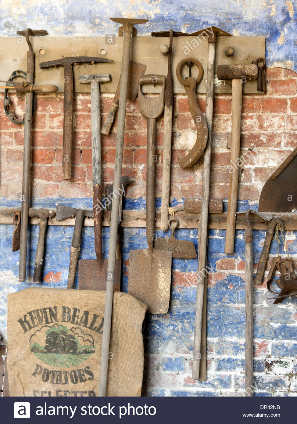 Genial Old Gardening Tools Hanging On Wall In Gardeneru0027s Bothy, Calke Abbey,  Ticknall, Derbyshire