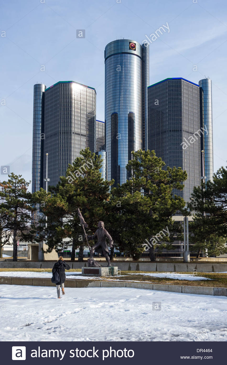 The GM Renaissance Centre in downtown Detroit, USA, Headquarters of General Motors, car manufacturers - Stock Image