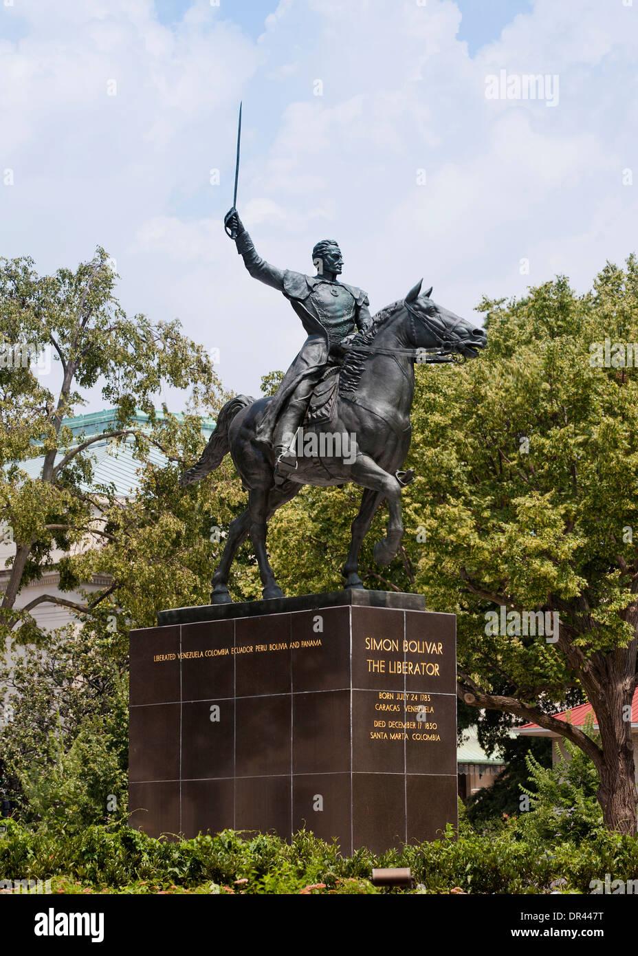 'Equestrian of Simon Bolivar' monument - Washington, DC USA - Stock Image
