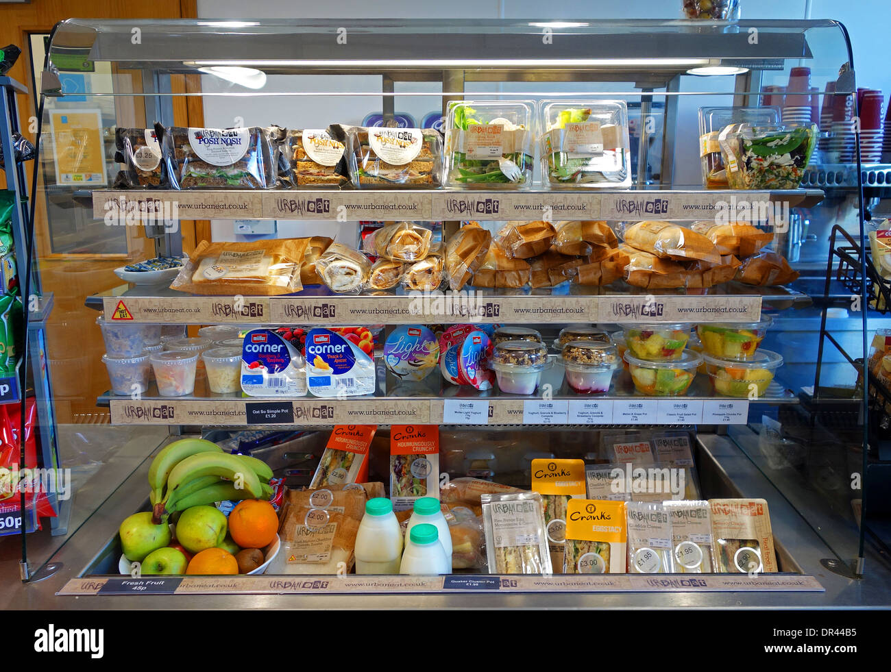 A Take Away Food Display Cabinet In A Roadside Cafe Stock Photo