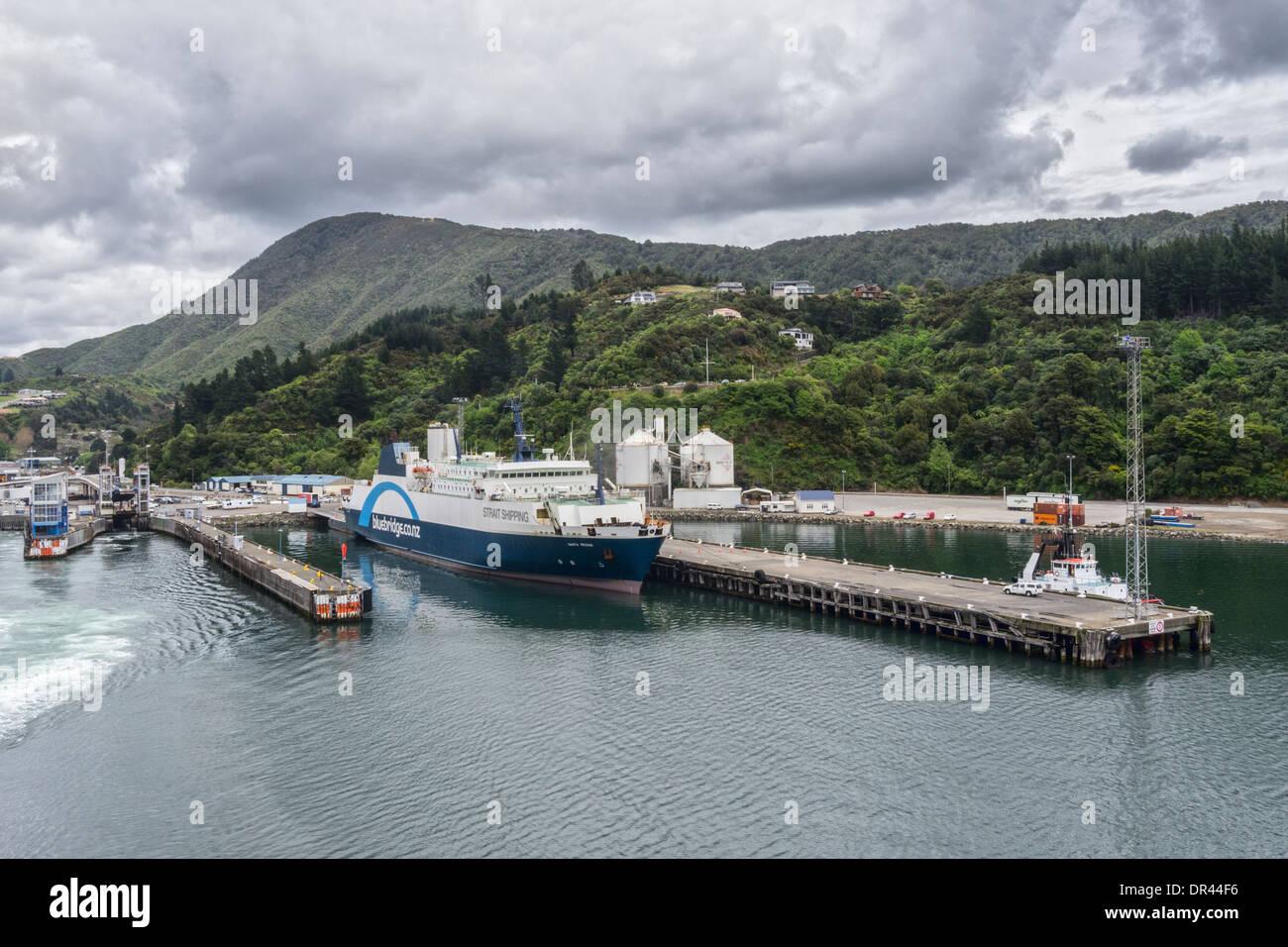 Santa Regina Ferry in port at Picton New Zealand - Stock Image