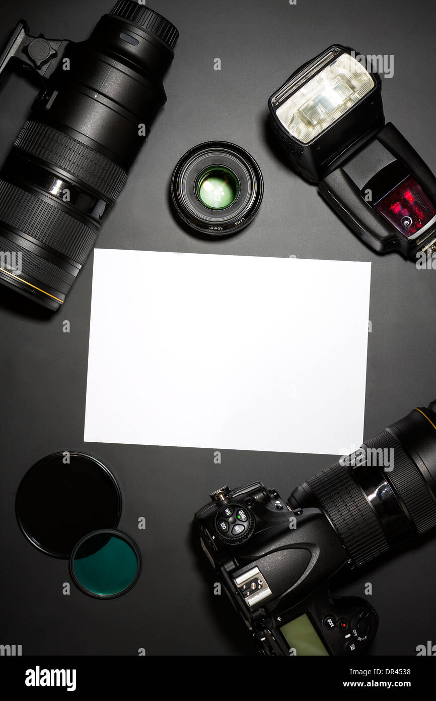 photography concept with dslr camera lense and copyspace - Stock Image
