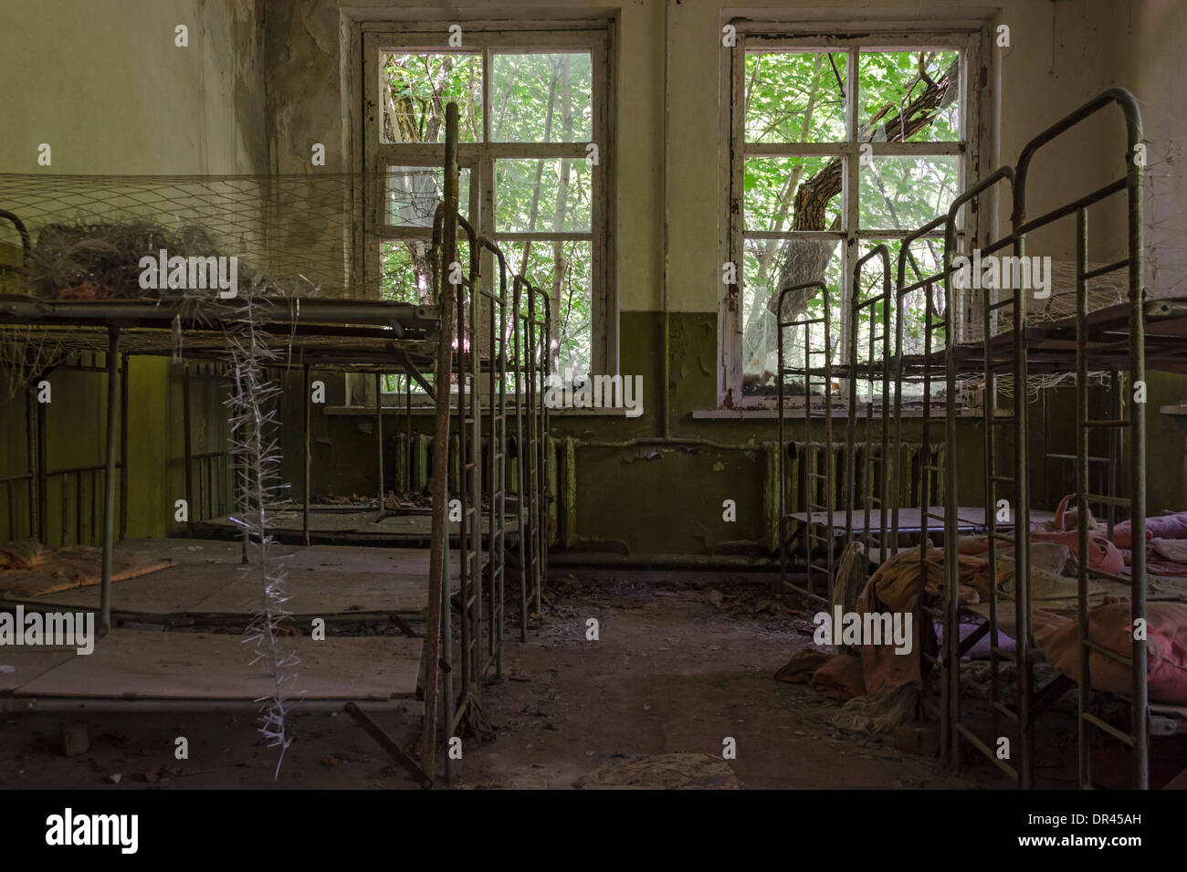 Hospital ruined by Chernobyl Nuclear Accident, Ukraine - Stock Image