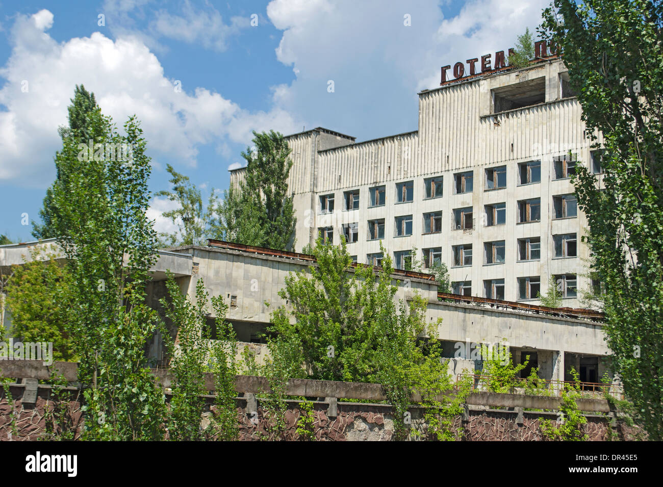 Village Ruined by Chernobyl Nuclear Accident, Ukraine - Stock Image