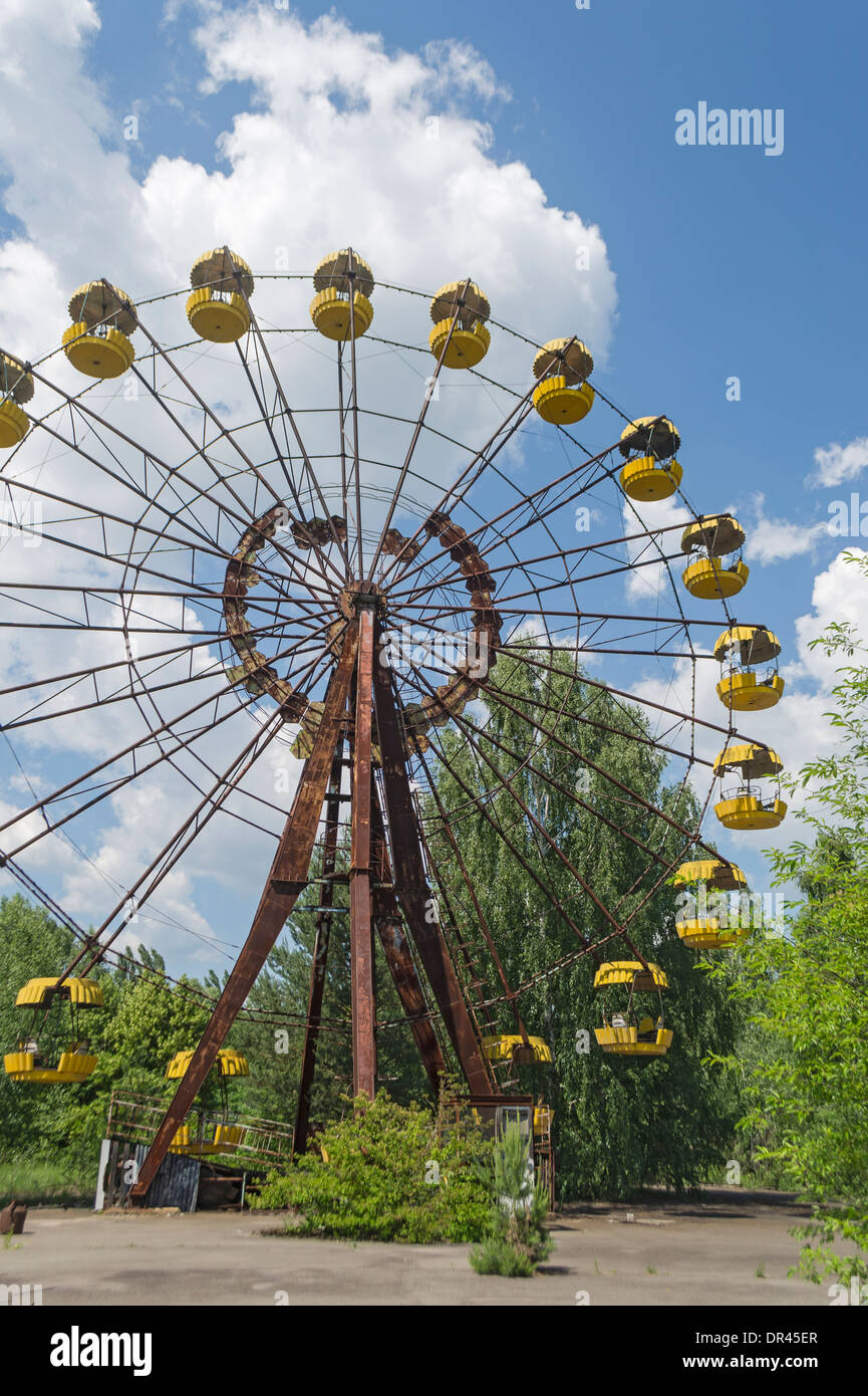 Amusement Park Ruined by Chernobyl Nuclear Accident, Ukraine - Stock Image