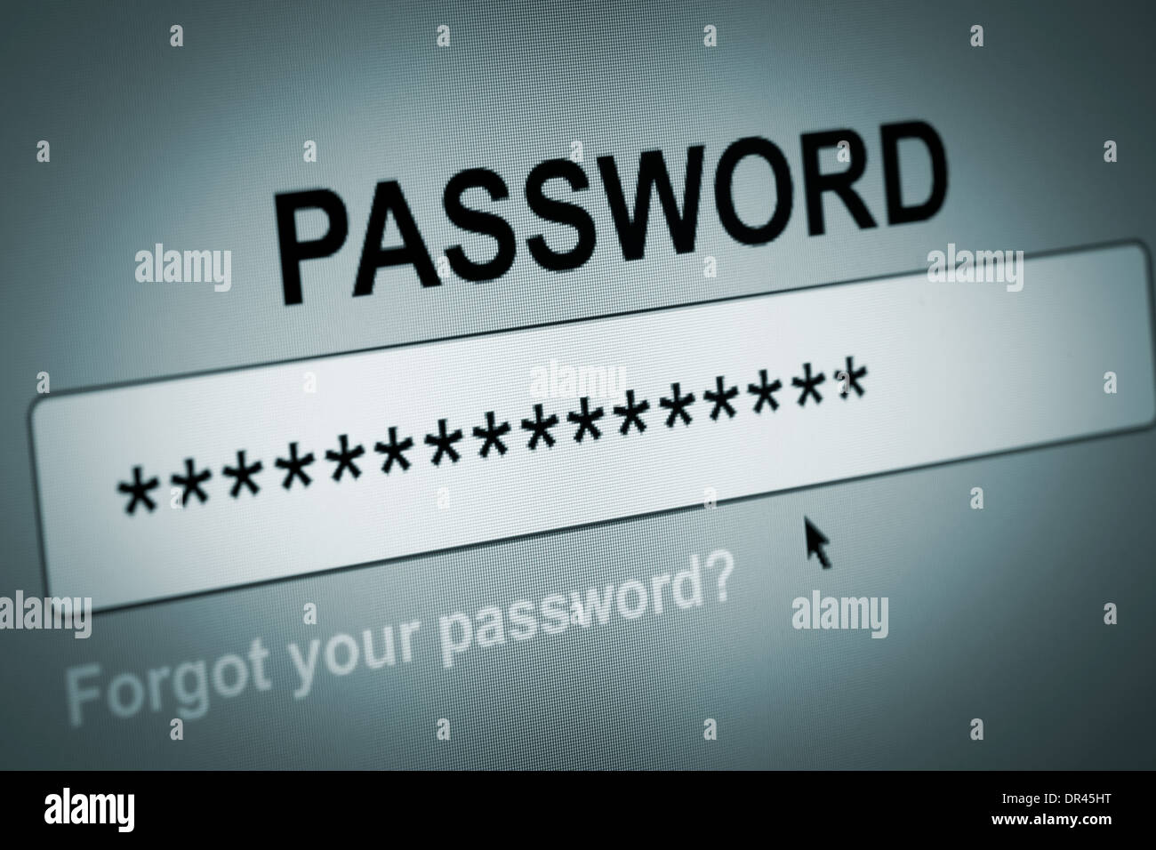 Closeup of Password Box in Internet Browser - Stock Image