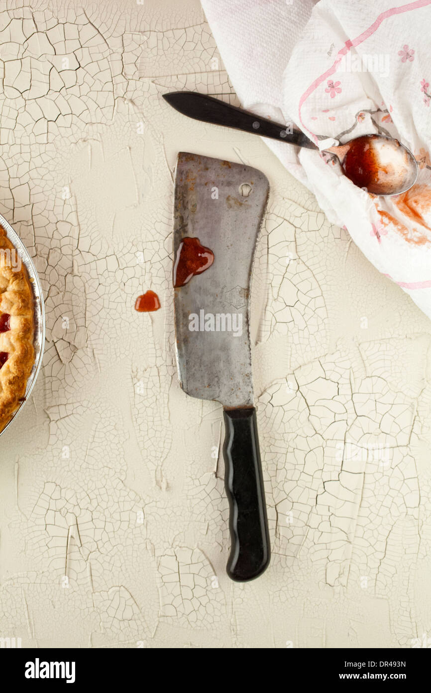 The cleaver that murdered the cherry pie - Stock Image
