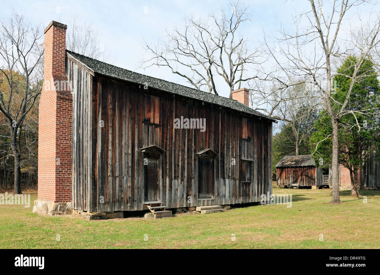 Slave houses at Stagville Plantation. A historic site in Durham, North Carolina. - Stock Image
