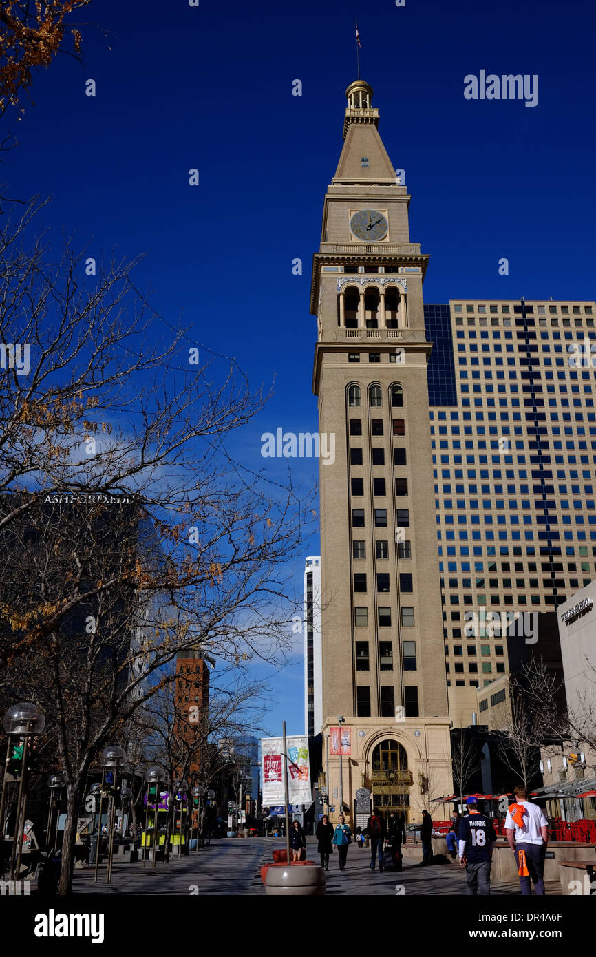 Historic Daniels and Fisher Tower on the 16th Street Mall. Denver, Colorado. Once the tallest building west of the Mississippi. - Stock Image