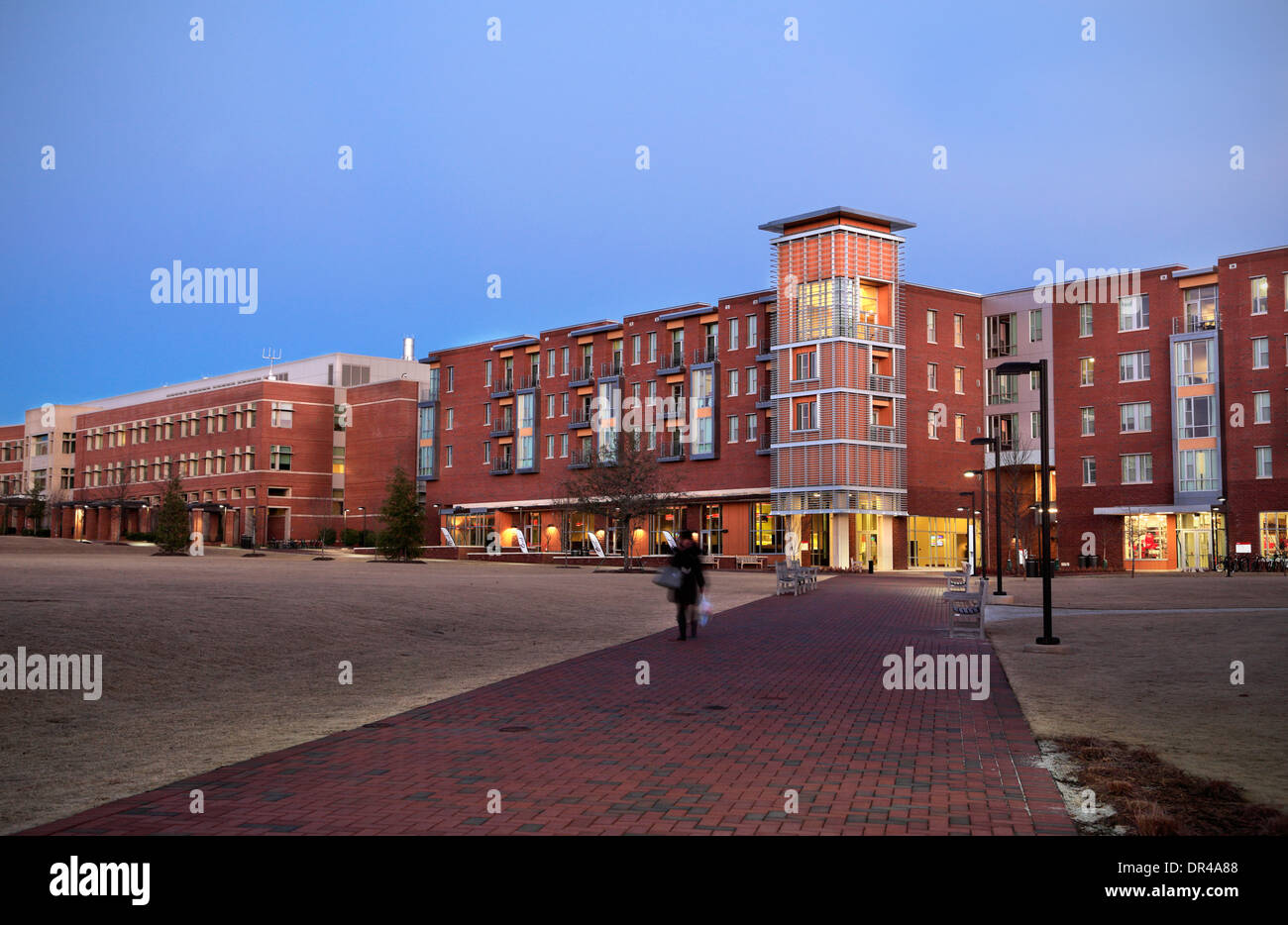 Student housing on the Oval at NC State University Centennial campus, in Raleigh, North Carolina. Stock Photo