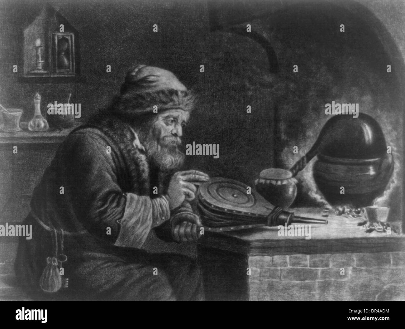 The Alchymist - Alchemist - Trying to manufacture gold - Stock Image