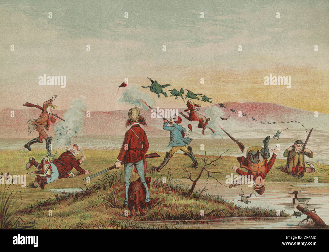 First blood for the Blue Grass Club, a hunting club out in the field, circa 1882 - Stock Image