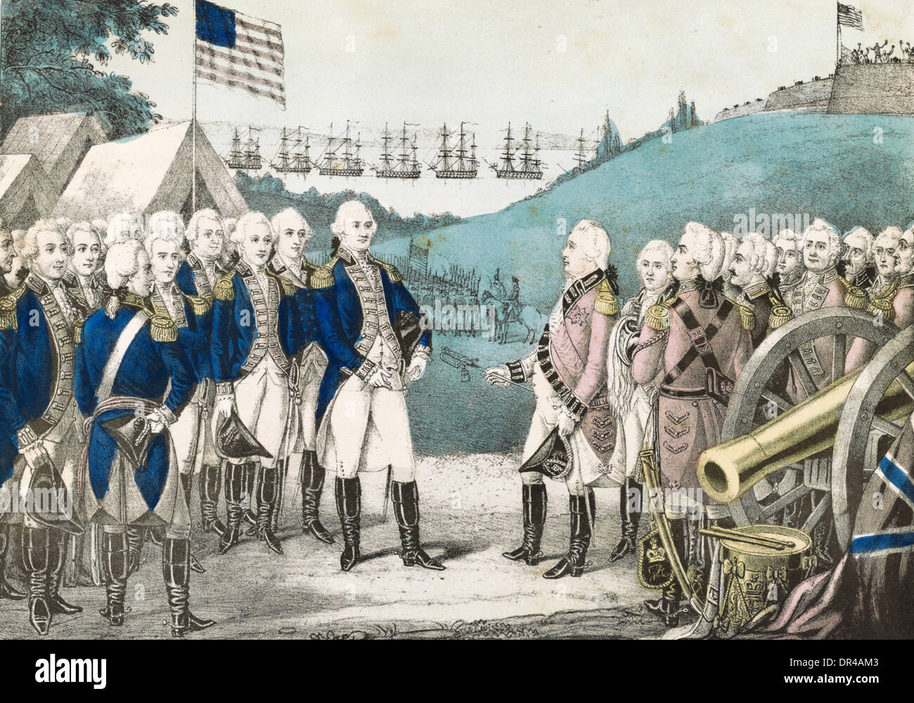 Surrender of Lord Cornwallis to General George Washington at Yorktown,  Virginia 1781