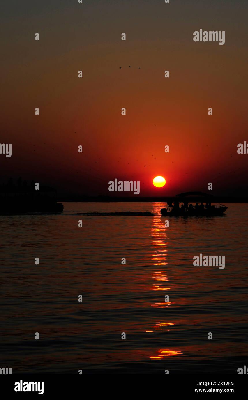 Sunset at Lake Manyara National Park - Stock Image