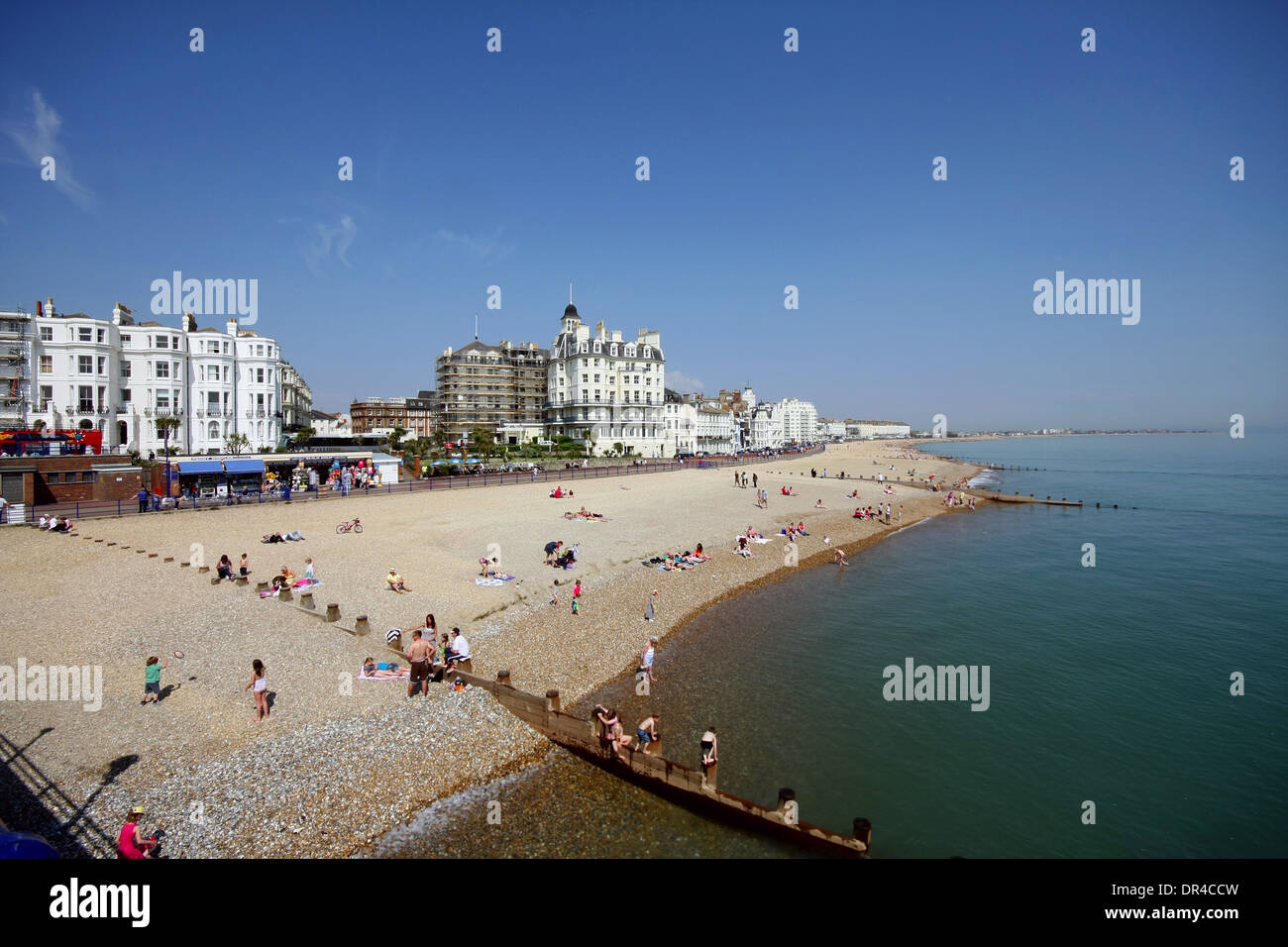A view of Eastbourne Beach from the pier Stock Photo