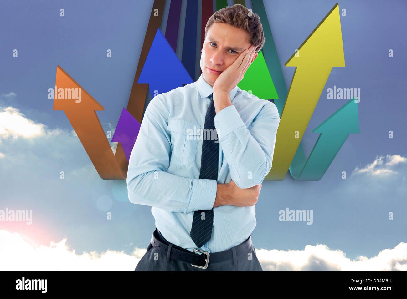 Composite image of upset thinking businessman - Stock Image