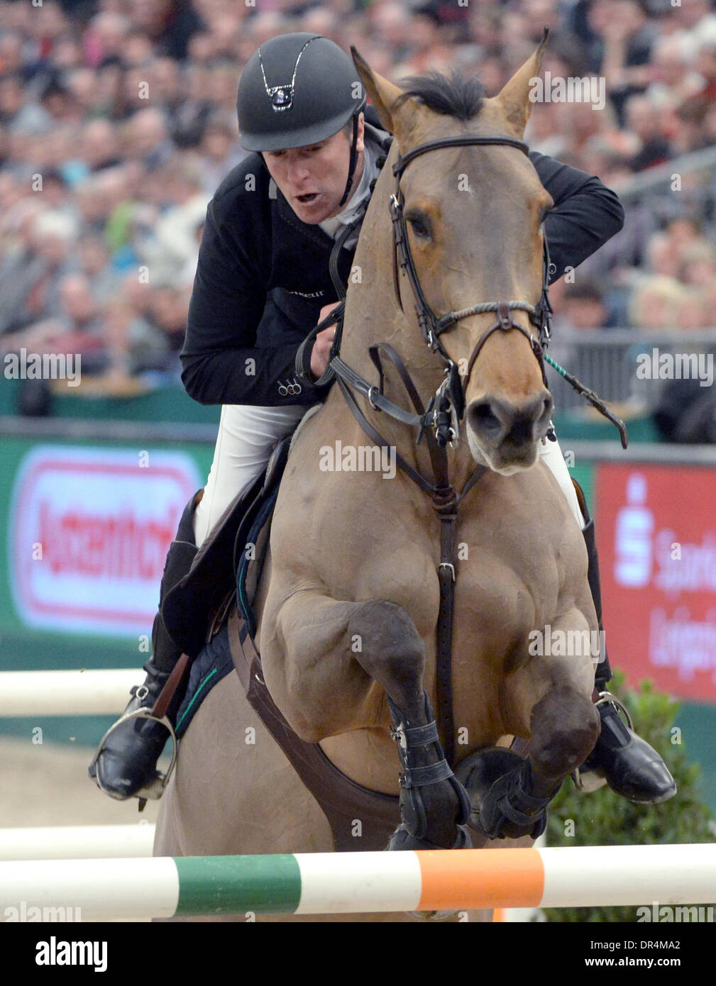 the Messe Leipzig, Germany. 19th Jan, 2014. France's show jumper Roger Yves Bost surmounts an obstacle on his horse Castle Forbes Myrtille Paulois and comes second in the competition during the Show Jumping World Cup at the Messe Leipzig, Germany, 19 January 2014. Photo: Hendrik Schmidt/dpa/Alamy Live News - Stock Image