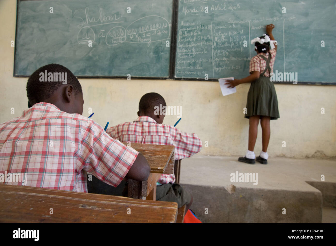 Apr 21, 2009 - Gonaives, Haiti - School children sit in on classes at a school rehabilitated by an international Stock Photo