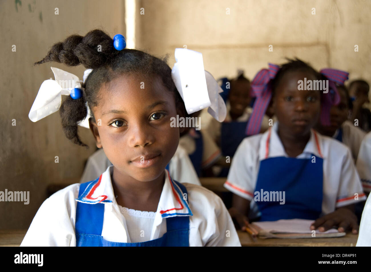 Apr 21, 2009 - Gonaives, Haiti - Young female students in a classroom which was reopened after Hurricanes Ike, Hanna Stock Photo